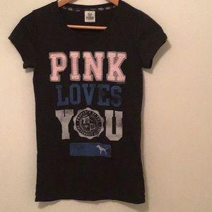 Victoria's Secret Pink T-Shirt w/ Appliqué Detail.